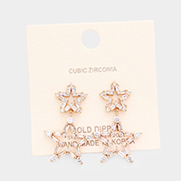 Gold dipped Cubic Zirconia Double Star Earrings
