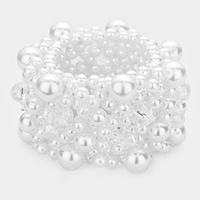 Clustered Pearl Bead Net Stretch Bracelet