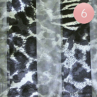 6PCS - Satin Striped Leopard Print Scarf