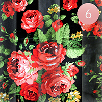 6PCS - Satin Striped Flower Print Scarf
