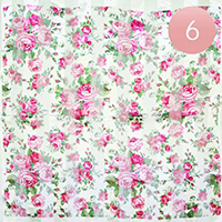 6PCS-Silk Feel Striped Floral Print Scarf