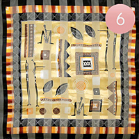 6PCS-Silk Feel Striped African Tradition Print Scarf