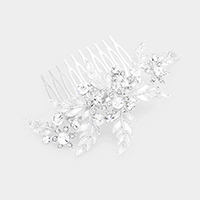 Crystal Round Rhinestone Pave Floral Hair Comb