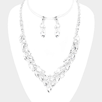 Rhinestone Pave Marquise Crystal Cluster V Necklace
