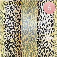 6PCS - Silk Feel Striped Leopard Print Scarf
