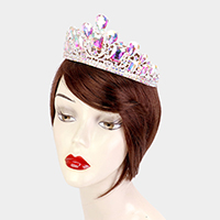 Crystal Teardrop Rectangle Accented Pageant Queen Tiara