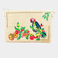 Embroidery Parrot Straw Clutch Bag