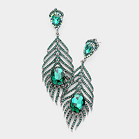 Crystal Rhinestone Feather Evening Earrings