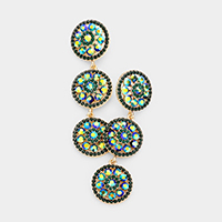 Triple Rhinestone Rosette Evening Earrings