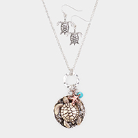 Metal Turtle Round Pendant Starfish Charm Necklace