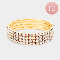 12PCS - 4Rows Rhinestone Tennis Stretch Bracelets