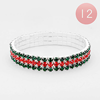 12PCS - Color Block Rhinestone Tennis Stretch Bracelets
