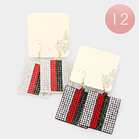 12Pairs - Color Block Rhinestone Rectangle Dangle Earrings