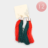 12Pairs - Color Block Double Tassel Drop Earrings