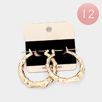 12Pairs -  Metal Bamboo Pin Catch Earrings