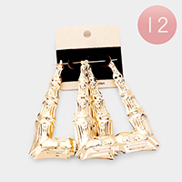 12Pairs - Metal Bamboo Geometric Pin Catch Earrings