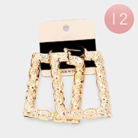 12Pairs - Embossed Metal Geometric Pin Catch Earrings
