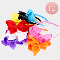 12PCS - Solid Color Grosgrain Bow Headbands