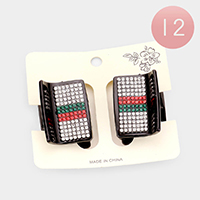 12 Set of 2 - Color Block Rhinestone Claw Clip