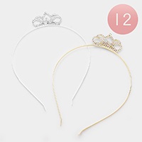 12PCS - Crystal Pave Floral Headbands
