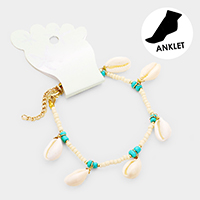 Puka Shell Charm Beaded Anklet