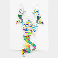 Enamel Floral Pattern Mermaid Pendant Set