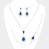 3PCS - Glass Crystal Teardrop Rhinestone Pave Necklace Set