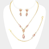 3PCS - Glass Crystal Marquise Rhinestone Pave Necklace Set