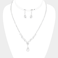 Rhinestone Pave Teardrop Crystal Evening Necklace
