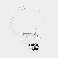 'Faith Over Fear' Cross Metal Charm Toggle Bracelet