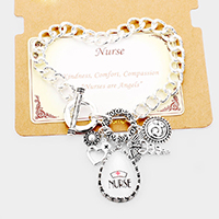 'Nurse' Heart Metal Charm Toggle  Link Bracelet