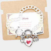 'Mom' Clover Heart Metal Charm Toggle Link Bracelet