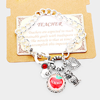 'Teacher' Apple Heart Owl Metal Charm Toggle Link Bracelet