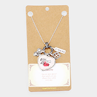 'Love You Mom' Heart Clover Pendant Necklace