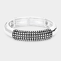 Pattern Embossed Metal Stretch Bracelet