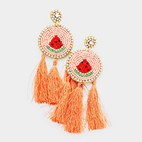 Crystal Pave Trimmed Watermelon Feather Earrings