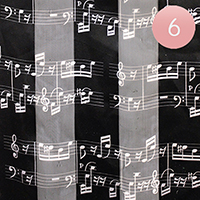 6PCS - Silk Feel Striped Music Notes Print Scarf