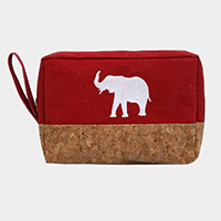 Elephant Print Canvas Pouch Bag