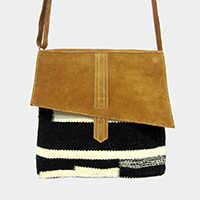 Suede Patterned Woven Crossbody Bag
