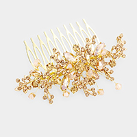 Crystal Rhinestone Pave Beaded Floral Hair Comb