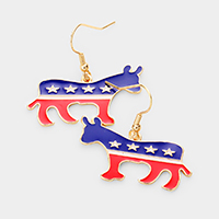 Patriotic Metal Donkey Dangle Earrings