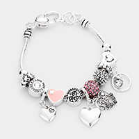 'Mom' Heart Charm Multi Bead Bracelet
