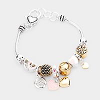 'I Love You' Heart Charm Multi Bead Charm Bracelet