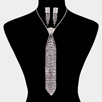 Crystal Rhinestone Pave Necktie Evening Necklace