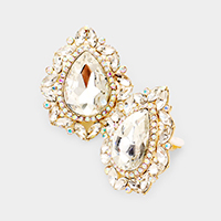 Pave Trim Crystal Teardrop Clip On Evening Earrings