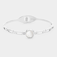 Round Mother of Pearl Stainless Steel Hinged Bracelet