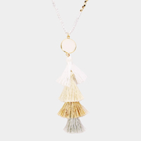 Layered Tassel Natural Stone Pendant Beaded Necklace