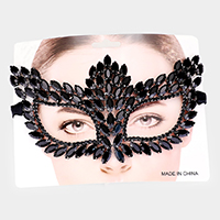 Rhinestone Pave Crystal Marquise Pave Cat Eye Mask