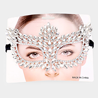 Rhinestone Pave Crystal Marquise Cat Eye Pave Mask
