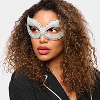 Crystal Rhinestone Pave Cat Eye Pave Mask